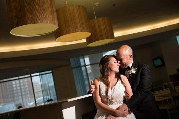 Bride and Groom in Hotel by PNC Park