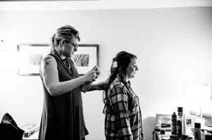Bride getting hair done - Pittsburgh Wedding